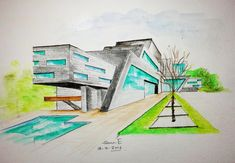 watercolor pencil art * one point perspective drawing * Architectural freehand perespective drawing - YouTube