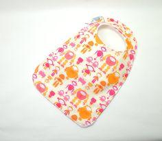 Toddler Bib 10x 17 / 1yr3 yrs / Girl Bib/ Robots by TextileTrolley, $12.00