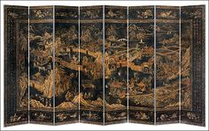 "Decorative Crafts .com | furniture from the orient \ hand-painted furniture \ hand painted screens #3026 | 8-panel hand-painted wood screen featuring a Ming Dynasty scene on an antiqued crackled black background. The back has an antiqued crackled black finish. Each panel measures 20"" wide; 160"" x 84"" high overall."
