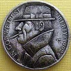 ALAN CHERNOMASHENTSEV HOBO NICKEL - SHAMUS - 1992d JEFFERSON NICKEL Hobo Nickel, Coin Art, Coins, Carving, Rooms, Wood Carvings, Sculptures, Printmaking, Wood Carving
