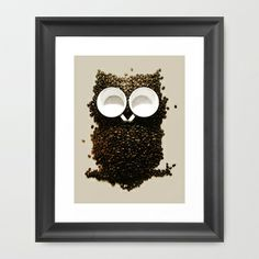 Hoot! Night Owl! Framed Art Print by Marco Angeles  LOVE THIS <3