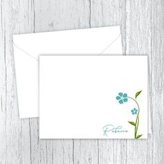 Aqua Flowers - Personalized Printed Note Cards Web Address, Small Letters, Personalized Note Cards, White Envelopes, Card Stock, I Shop, Texts, Aqua, Notes