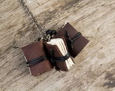 Miniature book necklace mini book jewelry tiny by BrotherWorks, $36.00