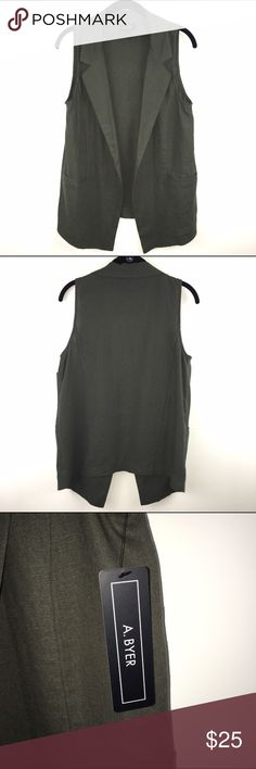 """A. Byer Olive Green Vest - NWT A. Byer Olive Green Linen blend vest.  New with tags.   Length approx 26"""" from the   collar to back hem.  Pit to pit measures 17"""" 55% Linen, 45% Rayon A. Byer Tops"""
