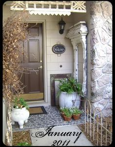 I love the non traditional porch decor.  This is Sweet Pea's home.