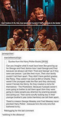 """There's a reason George Weasley and Fred Weasley never pranked Harry Potter - because he's the only one that bothered to try. Harry Potter Quiz, Harry Potter Books, Harry Potter Universal, Sassy Harry Potter, Harry Potter Twins, Female Harry Potter, Harry Potter Theories, Potter Facts, Drarry"