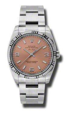 114234 pao Rolex Air-King oro blanco acanalado Bisel