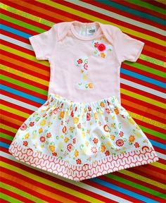 1st Birthday Appliquéd Onesie & Contrast Trim Skirt, Size 1 (12 months)