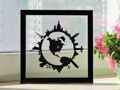 Around The World Handmade Original Papercut Gift: Hand-Cut Paper Art Silhouette (UNFRAMED)