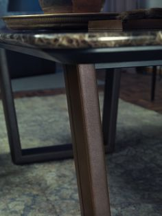 B130 Table by BORZALINO - Leather base and marble top - #furniture #table #chair #carlobimbi
