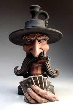 Poker Face Jug folk art Gambler pottery sculpture cards by Mitchell Grafton