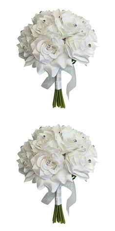 "8"" Wedding Bridal Rose bouquet - One Dozen Roses With Rhinestone - Artificial Flower Bridesmaid Toss (WHITE)"