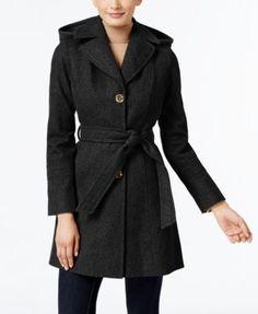 MICHAEL Michael Kors Petite Wool-Blend Hooded Walker Coat  | macys.com