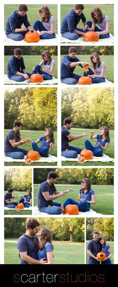 Hay! We love carving pumpkins! Our weddings in November so we can do this! And pumpkin patch engagement photos. Carving the wedding date would be cute too!