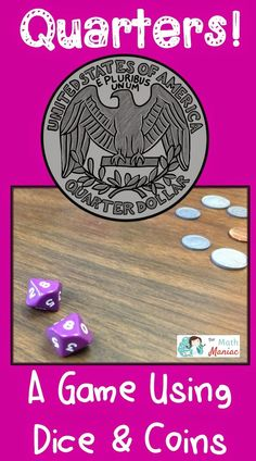 A no prep game to help kids work on counting coins, addition and more! All you need is a pair of dice and a handful of coins! A great way to learn money value for second graders. Hands on practice with coin identification and counting money. Counting For Kids, Counting Coins, Counting Money, Money Games For Kids, Money Activities, Teaching Money, Teaching Ideas, Creative Teaching, Kids Work