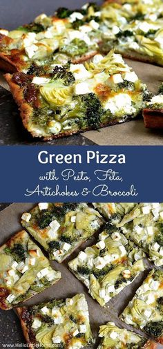Green Pizza with Pesto, Feta, Artichokes & Broccoli . a delicious vegetarian p. Green Pizza with Pesto, Feta, Artichokes & Broccoli . a delicious vegetarian pizza recipe! This easy veggie pizza recipe makes a great wee. Vegetarian Pizza Recipe, Vegan Recipes, Cooking Recipes, Vegetarian Dinners, Veggie Pizza Recipes, Vegetarian Appetizers, Vegetarian Breakfast, Veggie Recipes For Meat Lovers, Breakfast Dessert