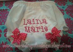 $14.00 Monogram bloomers with bow