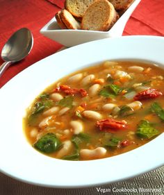 Vegan White Bean and Basil Soup from the cookbook Quick-Fix Vegan