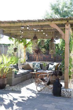 Wooden Pergola Outdoor - - Small Pergola With Roof - Pergola Plans - - Pergola Bioclimatique Acier Diy Pergola, Pergola Curtains, Wooden Pergola, Outdoor Pergola, Pergola Shade, Outdoor Rooms, Gazebo, Outdoor Decor, White Pergola