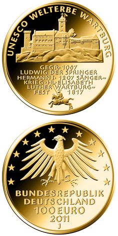 100 euro: UNESCO Welterbe Wartburg.Country: Germany Mintage year:2011 Issue date:04.10.2011 Face value:100 euro Diameter:28.00 mm Weight:15.55 g Alloy:Gold Quality:Proof Mintage:320,000 pc proof Design:Wolfgang Reuter Mint:A,D,F,G,J