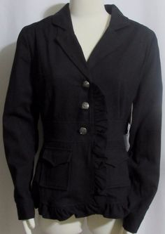NEW Womens Ladies DOWNEAST BASICS Black Cotton Blend Ruffled Blazer Jacket L…