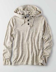 AEO Lightweight Baja Hoodie Sweater, Indigo   American Eagle Outfitters