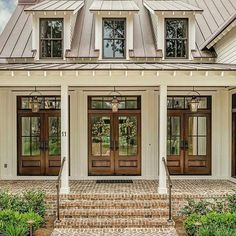 42 Ideas farmhouse exterior colors metal roof dream homes for 2019 Exterior House Colors, Exterior Design, Exterior Paint, Farmhouse Exterior Colors, Exterior Siding, Exterior Windows, Wood French Doors Exterior, Door Design, Front French Doors