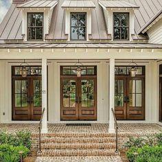 42 Ideas farmhouse exterior colors metal roof dream homes for 2019 Exterior House Colors, Exterior Design, Exterior Paint, Farmhouse Exterior Colors, Exterior Siding, Exterior Windows, Wood French Doors Exterior, Door Design, Brown Brick Exterior