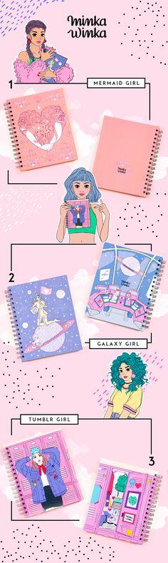 Stationery, notebook, caderno, papelaria, bullet journal, planner, cute, back to school, minka winka, cute, home office, desktop, tumblr girl, hardcover, agenda