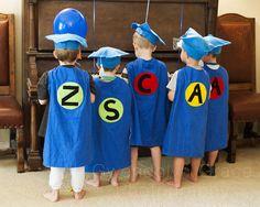 Preschool Graduation with superhero capes. adorable especially for five best friends. Superhero Kindergarten, Superhero Classroom, Pre Kindergarten, Preschool Lessons, Preschool Kindergarten, Toddler Preschool, Superhero Capes, Preschool Activities, Graduation Songs