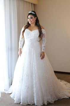 11d1ec5a3acb2 2018 A Line Plus Size Wedding Dresses Off The Shoulder Sequins Appliques  Beads Long Sleeve Wedding Dress Custom Made Lace Bridal Gowns