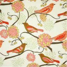 Free Spirit Valori Nest Bird Paisley Scarlet Fabric Yardage