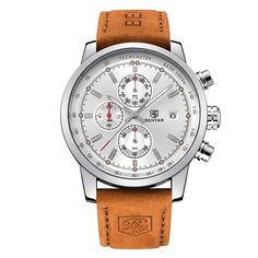 Men's Business Quartz Watch Brown Leather Strap Chronograph Waterproof White N | Jewelry & Watches, Watches, Parts & Accessories, Wristwatches | eBay!