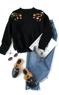 Embroidery fashion-Black bird embroidery sweater outfit.