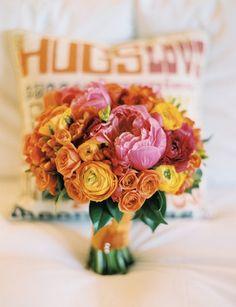 Summer wedding bouquet: #wedding #bouquet #pink #yellow #orange: www.josevillablog.com