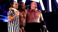 This picture pretty much sums up my childhood ending. 3 of the greatest the sport has ever seen embracing after a match that signified the end of an era. Great match.