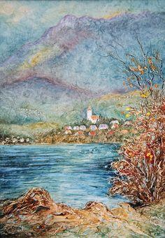 Pavel Móza - Krajina s kostolom, olej, 2002, 41x29 cm, cena - 600€