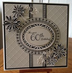 60th BIRTHDAY CARD IN BLACK AND WHITE