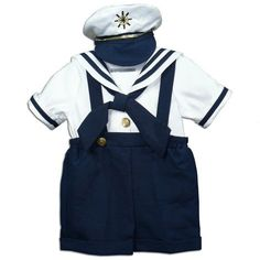 NWT Classic Dressy Navy Sailor Baby Boy Shortall Set with Hat, Fouger Boutique