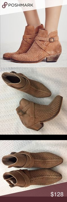 FREE PEOPLE Venture Woven Leather Ankle Bootie Amazing boots by Free People. New, never worn. Do not come with box. Distressed look. Free People Shoes Ankle Boots & Booties