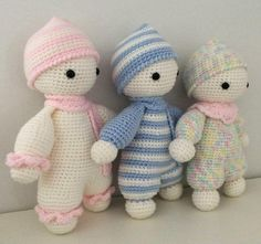 Cuddly babies doudou blankie toys jouet baby bébé kids enfant crochet doll poupée amigurumi gift knitting handmade shower from FICELLEetTRICOTELLE on.