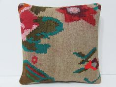 kilim pillow cover Turkish cushion sofa throw pillow decorative pillow case couch outdoor floor bohemian decor boho ethnic rug accent 23496