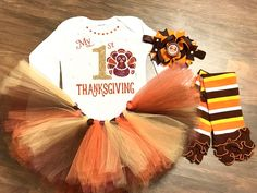 A personal favorite from my Etsy shop https://www.etsy.com/listing/488123095/my-first-thanksgiving-baby-girls-first