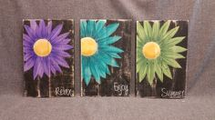Gerber Daisy Shabby Pallet Art, Distressed Reclaimed wood, Hand painted, handmade, wall decor, Rustic & Shabby Chic  Dimensions are approx. 17 tall x 11 wide.  This Summer Shabby Artwork is made of reclaimed pallet wood, painted with acrylic paint and distressed by sanding the surface. It would be a great, colorful accent to your front porch or cottage entrance for this summer!  **This is the original pictured. Your Purchased picture would be painted 10-14 days after order. Note that wood...