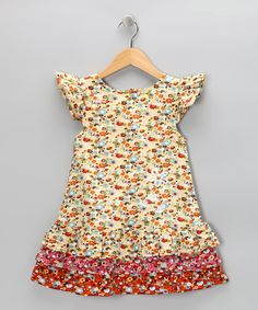 Marvel at the meadow on this colorful tiered dress. Fluttery angel sleeves and embroidery at the hip and shoulder will have a sweetheart (and family) swooning.100% cottonMachine washImported