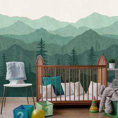 Mountain Wallpaper, Woodland Wallpaper, Forest, Teal Green Ombré, Mural Wallpaper, Wall Mural, Kids Wallpaper, Removable Wallpaper    W1076