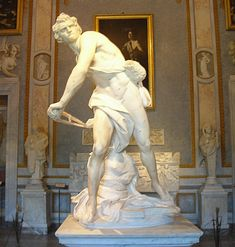 "Bernini Sculptures | Bernini's 1623 marble statue of ""David"" resides in Rome."