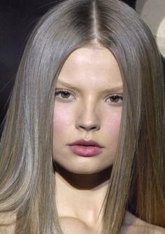 Sleek Ash Grey/Blonde Hair