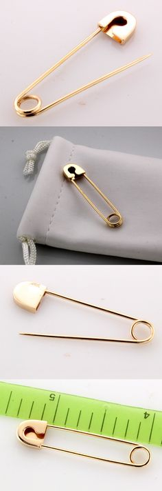 Other Fine Pins and Brooches 11007: 18K Rose Gold Safety Pin -> BUY IT NOW ONLY: $199 on eBay!