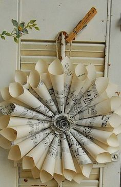 book page christmas ornaments old rolled paper music notes wreath hanging on a wall decor ideas